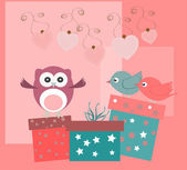 Birthday party elements with cute owls, birds, hearts and flowers — Foto Stock