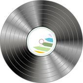 Vinil preto registro lp álbum disco isolado no branco — Fotografia Stock