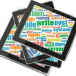 Business and financial words on tablet pc screen — 图库照片 #18759035