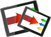 Modern tablet pc set with arrows isolated on white — Stock Photo