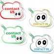 Contact us cloud signs set with cute eyes and clip — Stock Photo