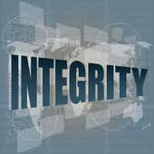 Search button to find integrity word on a touch screen interface — Stock Photo