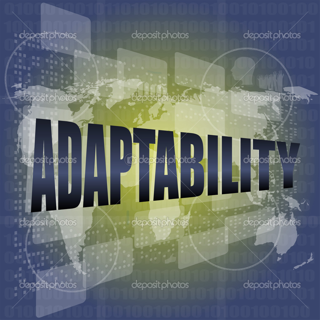 Finance Background: Adaptability Word On Digital Screen. Financial Background