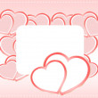 Valentine card with red hearts and ribbon with empty space — ストック写真