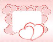 Cartolina di san valentino con cuori rossi e nastro con spazio vuoto — Foto Stock