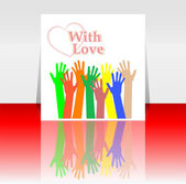 Flyer or cover design with happy collaborating hands and love heart — Stock Photo