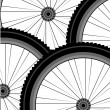 Seamless bicycle wheels pattern - Stock Photo