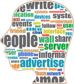 Head with the words on the topic of social networking and media — Stockfoto