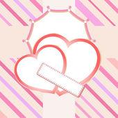 Dwie miłości serca na czerwonym tle — Zdjęcie stockowe