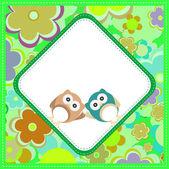 şirin bebek çocuk owlet kalpler ve çiçekler arka planı — Stok fotoğraf