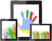 Hands on tablet pc screen. digital devices set — Stock Photo
