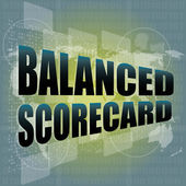 Words balanced scorecard on digital screen, business concept — Stock Photo