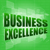Business excellence words on digital touch screen with world maps — Stock Photo
