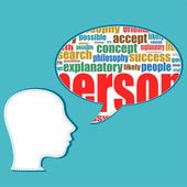 Head with the words on the topic of social networking and media — Stock Photo