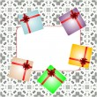 Holiday background with red gift bow, gift boxes and blank card — Zdjęcie stockowe