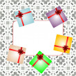 Holiday background with red gift bow, gift boxes and blank card — Stockfoto
