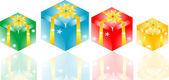 Gift box set with yellow ribbon bow — Stock Photo