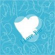 Simple i love you text badge on blue background - Foto Stock
