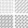 Set of monochrome geometrical patterns - Foto Stock