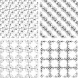 Set of monochrome geometric seamless patterns, backgrounds collection - Foto Stock