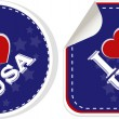 Stickers set i love USA with heart — Stock Photo