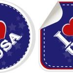 Stickers set i love USA with heart — Stock Photo