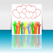 Flyer or cover design with happy collaborating hands and hearts set — Stock Photo #19405407