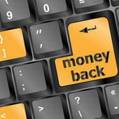 Keyboard with Money back text on button — Stock Photo