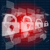 Security concept: Lock on digital screen, contrast — Stock Photo