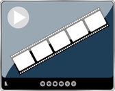 Movie player interface with film strip and digital buttons — Stock Photo