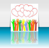 Flyer or cover design with happy collaborating hands and hearts set — Stock Photo