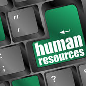 Human resources text on laptop keyboard — Stock Photo