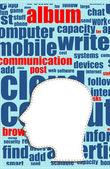 слово облако бизнес концепции за пределами форма головы, карьера — Стоковое фото