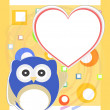 Pretty romantic card with owls and love hearts — 图库照片
