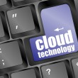 The words cloud technology printed on keyboard, keyboard technology series — Stock Photo