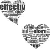 Marketing. woord collage instellen in hart vorm — Stockfoto