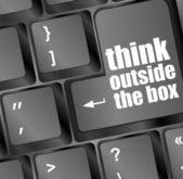 Think outside the box words, message on enter key of keyboard — Stock Photo