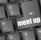 Meeting (meet up) sign button on keyboard with soft focus — Stock Photo