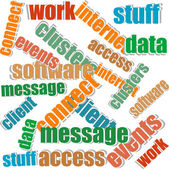 Collage of different words on a white background on business topics — Stock Photo