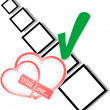 Valentine hearts and check list symbol — Stock Photo
