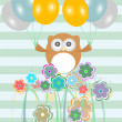 Stock Photo: Birthday party card with cute birds, owls and flowers