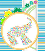 Abstract illustration card with elephant and flowers — ストック写真