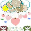 Owls, birds, flowers, cloud and love heart — Foto Stock