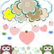 Owls, birds, flowers, cloud and love heart — ストック写真