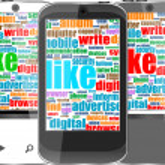 telefono intelligente con icone di applicazione e socila media Parole — Foto Stock