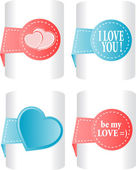 Labels and stickers, heart shape — Stock Photo