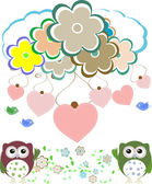 Owls, birds, flowers, cloud and love heart — Stock Photo