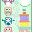 Happy birthday card with cute owls and gift boxes — Stock Photo #20071283