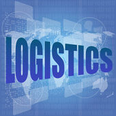 Business concept: logistics word on digital screen — Stock Photo