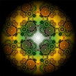 Vivid mandala wheel, digital fractal artwork, abstract illustration - Stock Photo
